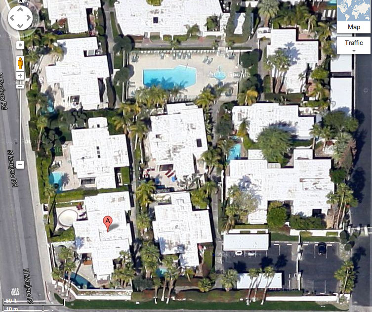 Aerial map of the Club Condominiums complex located in Palm Springs, CA