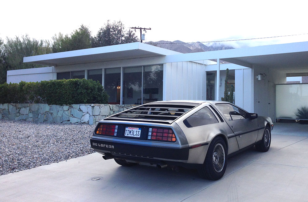 Time Machine Delorean visits the Timeless steel house