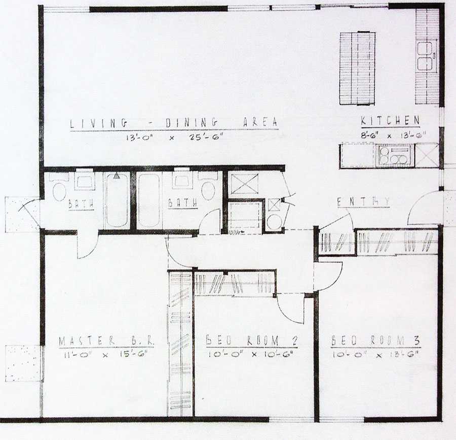 Floor plan for Palm Springs Alexander Construction Company mid century tract homes