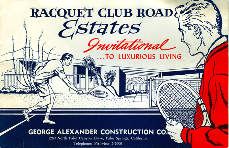 Racquet Club Estates original invitation by Alexander Construction Company