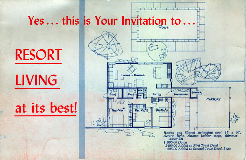 Racquet Club Road Estates original floor plan by Alexander Construction Company