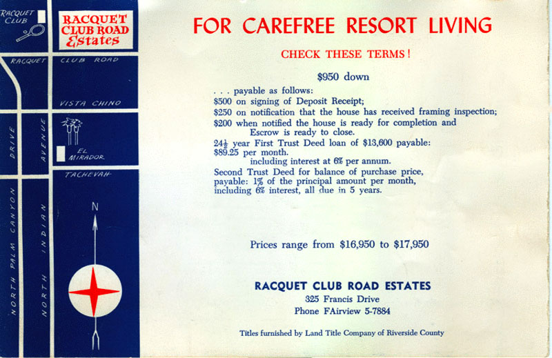 Racquet Club Road Estates original brochure by Alexander Construction Company
