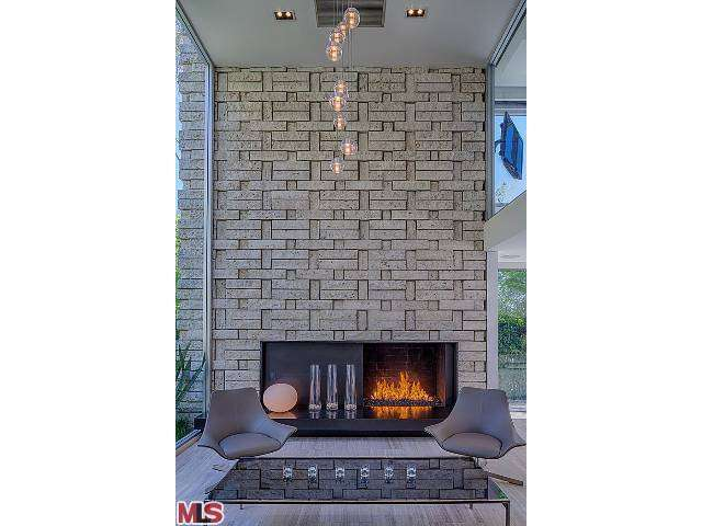 Fireplace in the Mid Century home owned by Meryl Streep