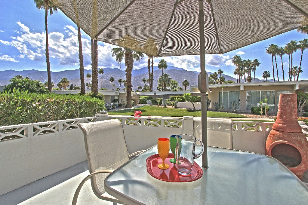 Amazing patio with views at unit 2A of the Firebird Estates in Central Palm Springs