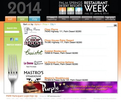 Palm Springs Restaurant Week 2014