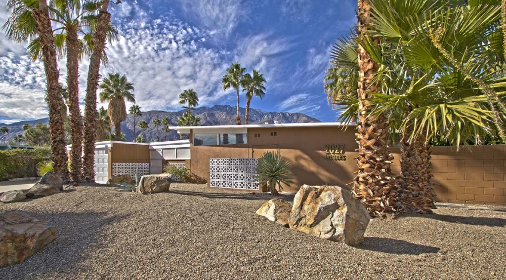 front of a 1959 mid-century Palm Springs, ca