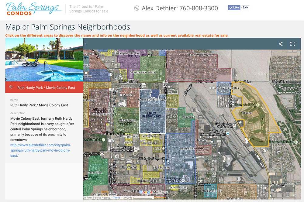 Palm Springs Neighborhoods map on