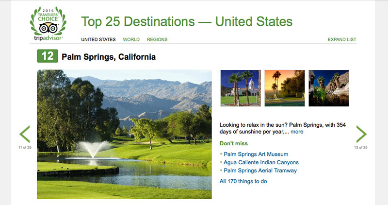 Palm Springs top destination in the US