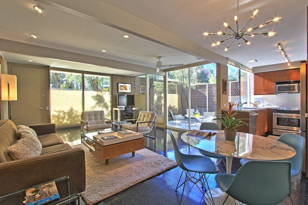 Living room of a condo at the Racquet Club Garden Villas, Palm Springs, CA