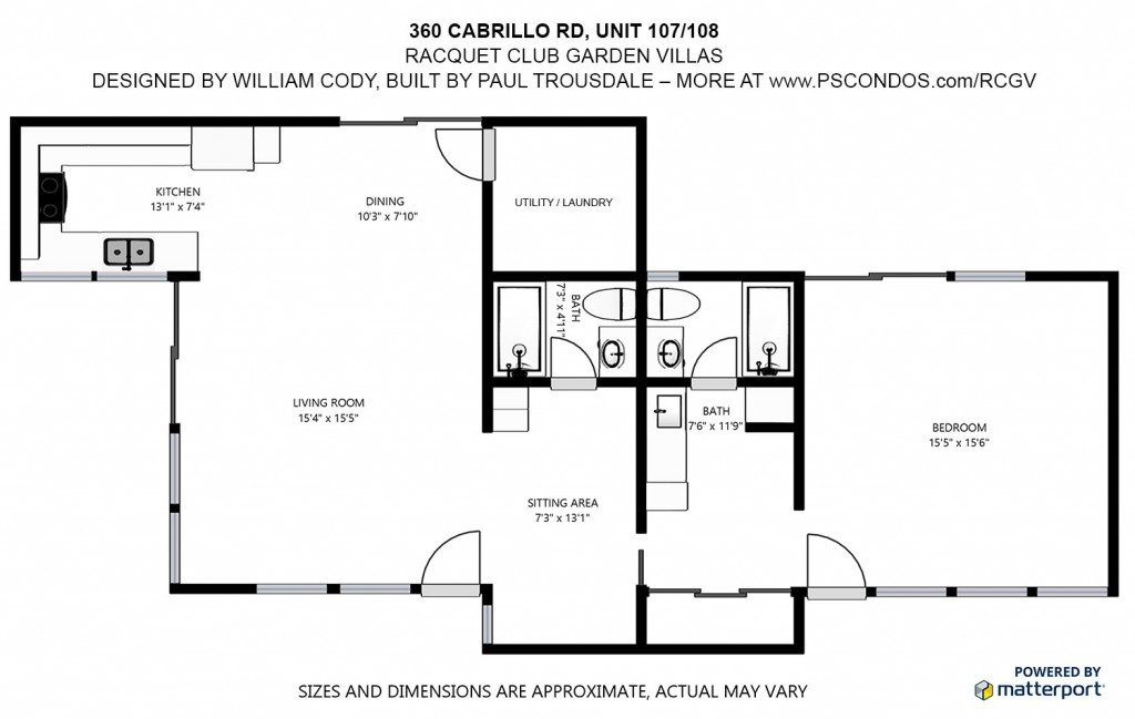 Floor plan of a double unit at the Racquet Club Garden Villas, Palm Springs, California