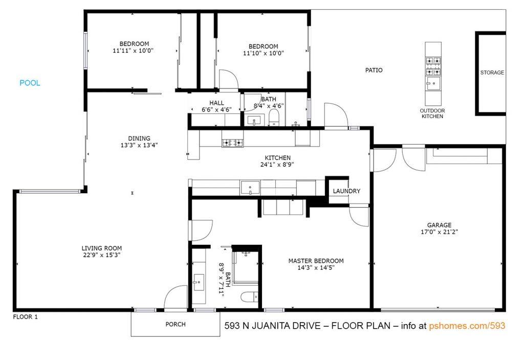 Floor plan of 593 Juanita Drive, Palm Springs, CA 92262