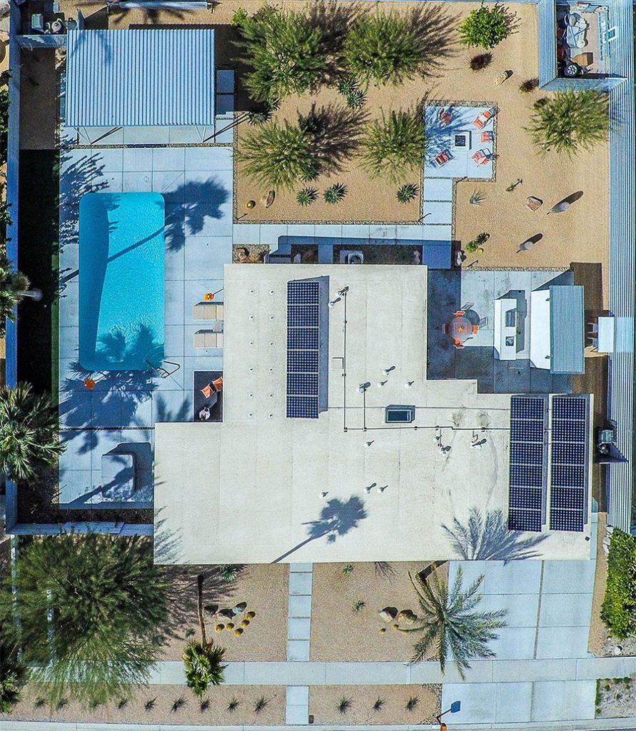 Aerial shot of 593 N Juanita Drive in Palm Springs, CA