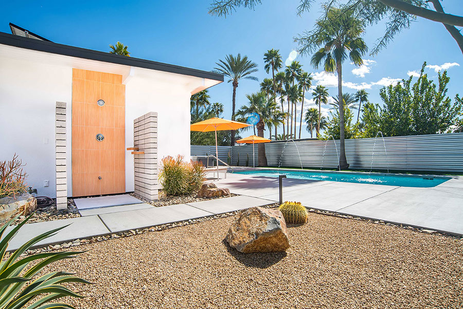 Outdoor shower at 593 N Juanita Verde, Palm Springs