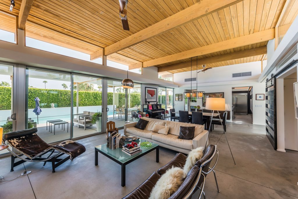 Interior of a mid-century modern home in Palm Springs, CA