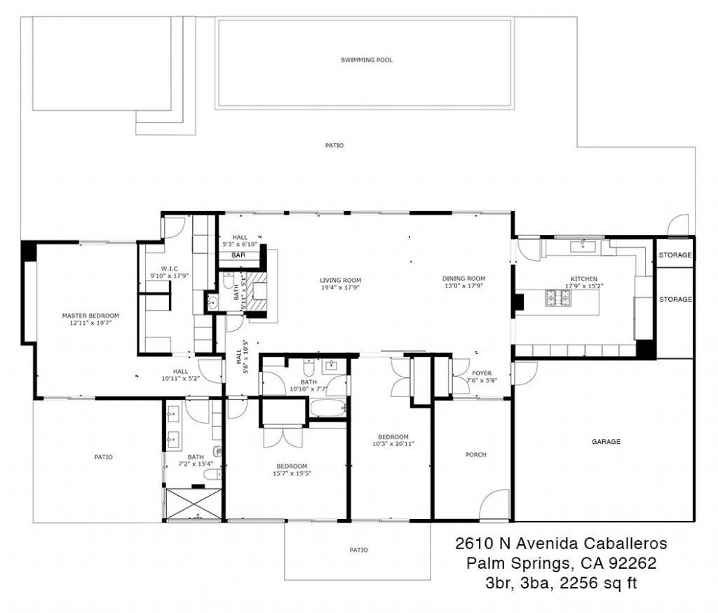 Floor plan of 2610 N Avenida Caballeros, Palm Springs, CA 92262