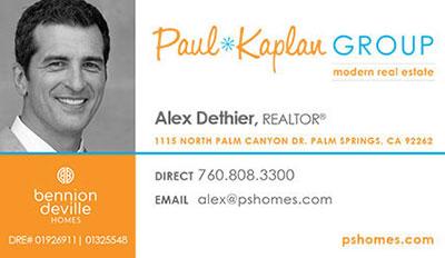 Alex Dethier, Palm Springs Realtor, business card